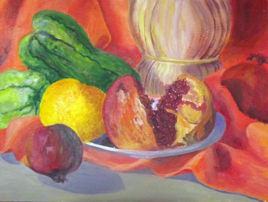 Still life with pomegranate - Acryilic on canvas by Andipainting