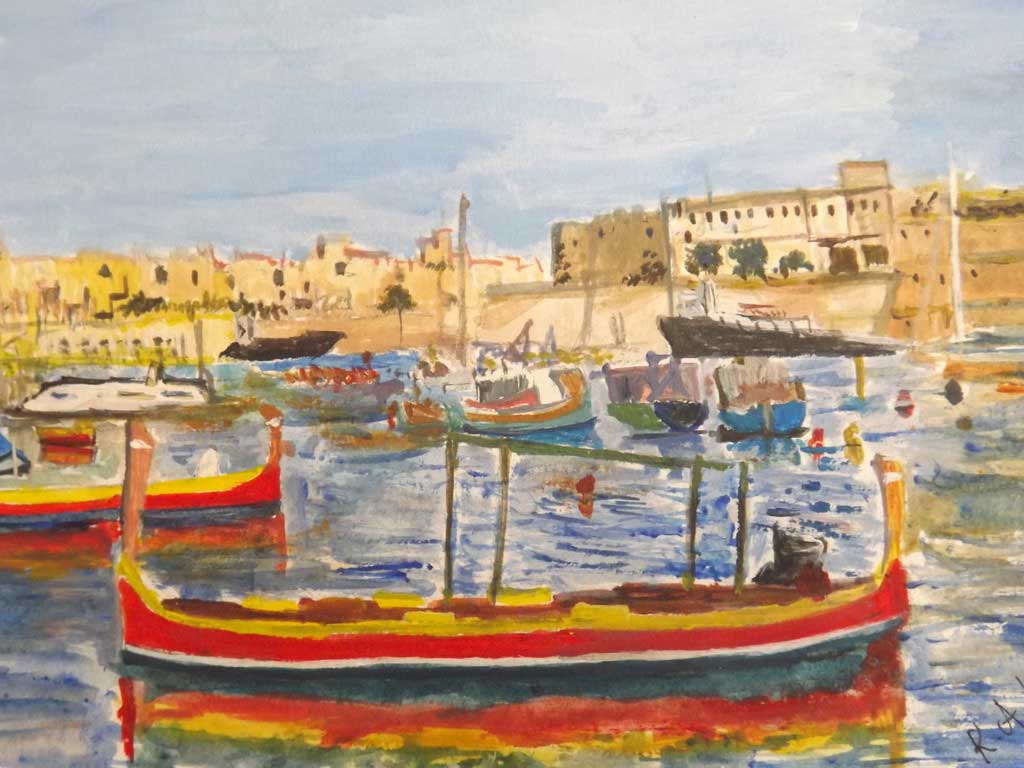 Kalkara - Acryilic on paper by Andipainting