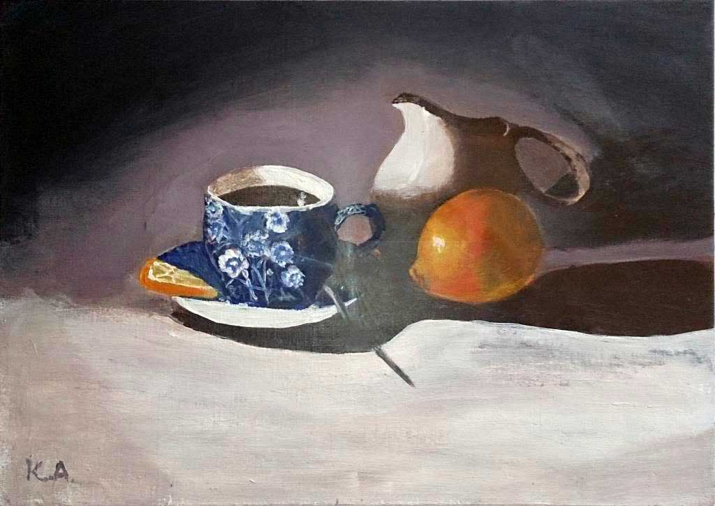Still life with cup of coffee and lemon - Acryilic on canvas by Andipainting