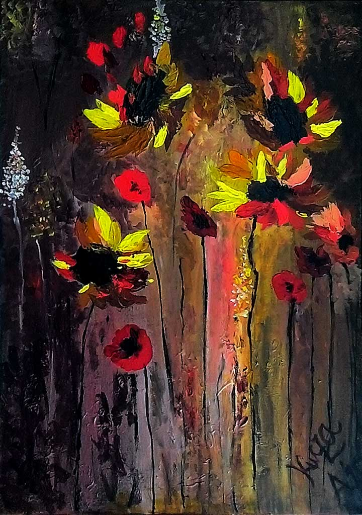 Fire Blossom - Acryilic on canvas by Andipainting