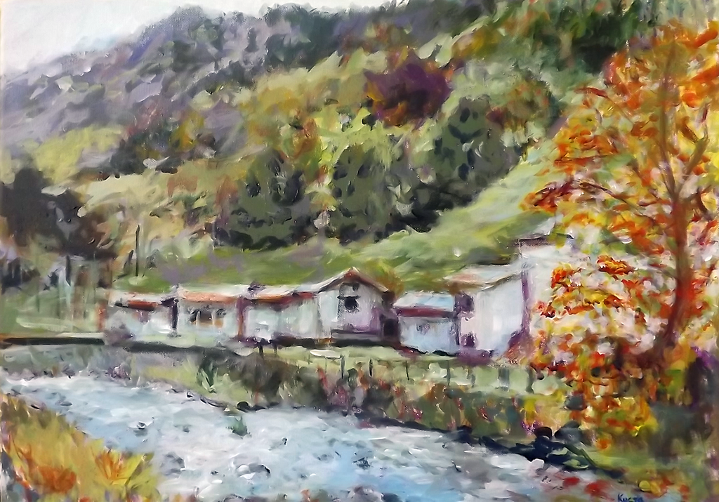 Valtellina - Acryilic on canvas by Andipainting